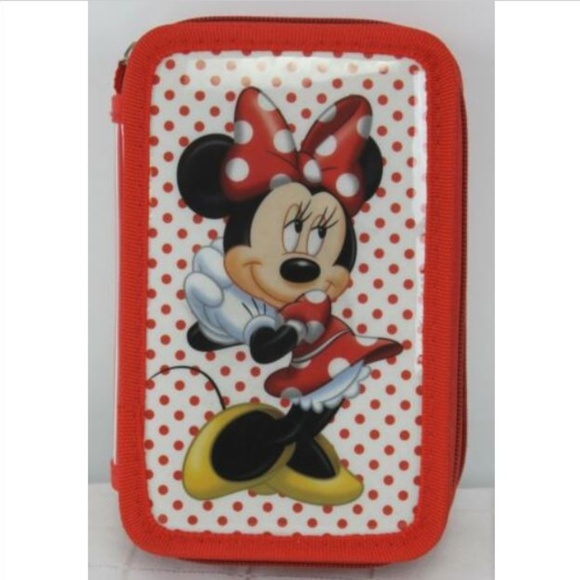 MICKEY MOUSE 3 RING BINDER ZIPPER POUCH PENCILS PENS SCHOOL RED